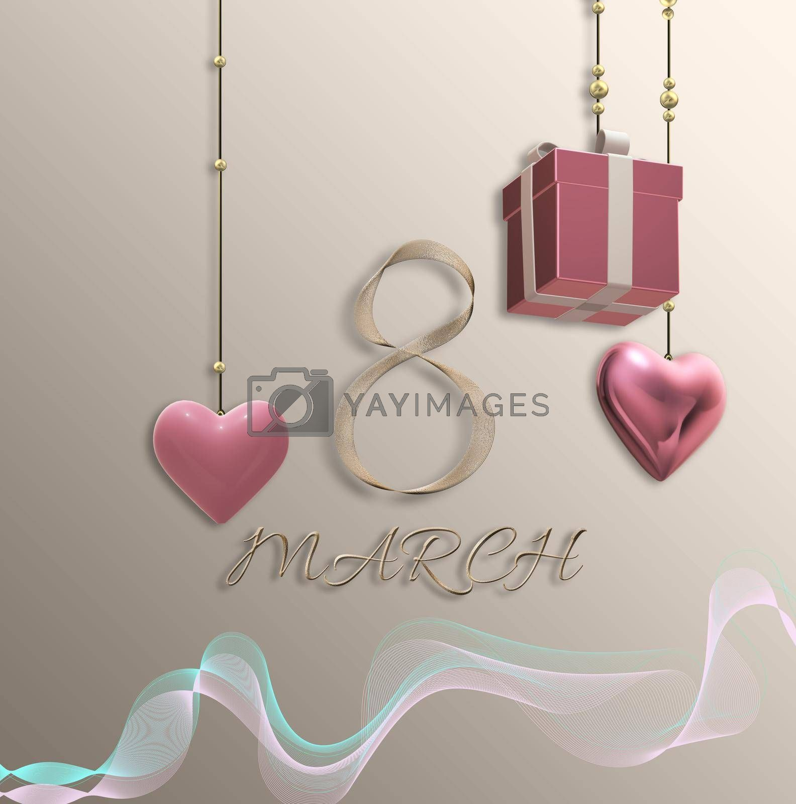 Beautiful 8th of March greeting card. Women's Day elegant beautiful design template. Text 8 March made of golden shiny ribbon. Hanging gift box, 3D hearts over pastel gold. 3D illustration
