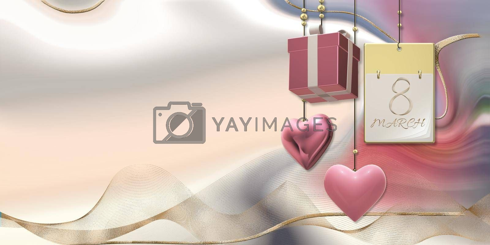 Women's Day 8 March. Calendar with 8 March, hanging 3D gift box, hearts on pastel pink abstract background. Beautiful design for 8th March international Womens day. 3D illustration