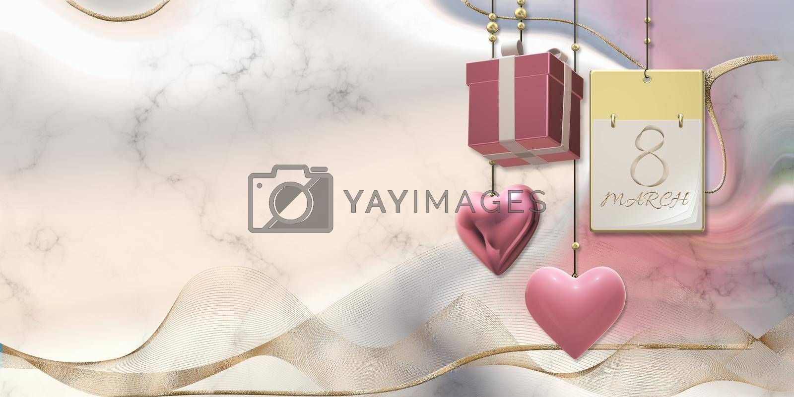 Women's Day 8th March. Calendar 8 March, hanging 3D gift box, golden ribbon, hearts on pastel pink liquid waves background. Elegant beautiful card for 8th March international women's day. 3D render