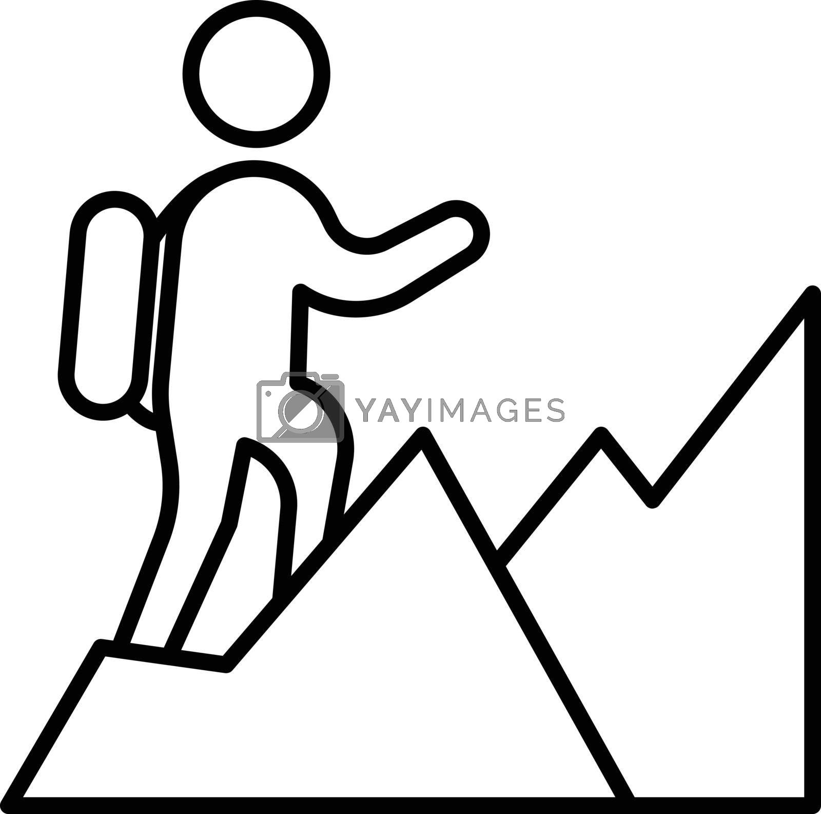 people hiking vector thin line icon