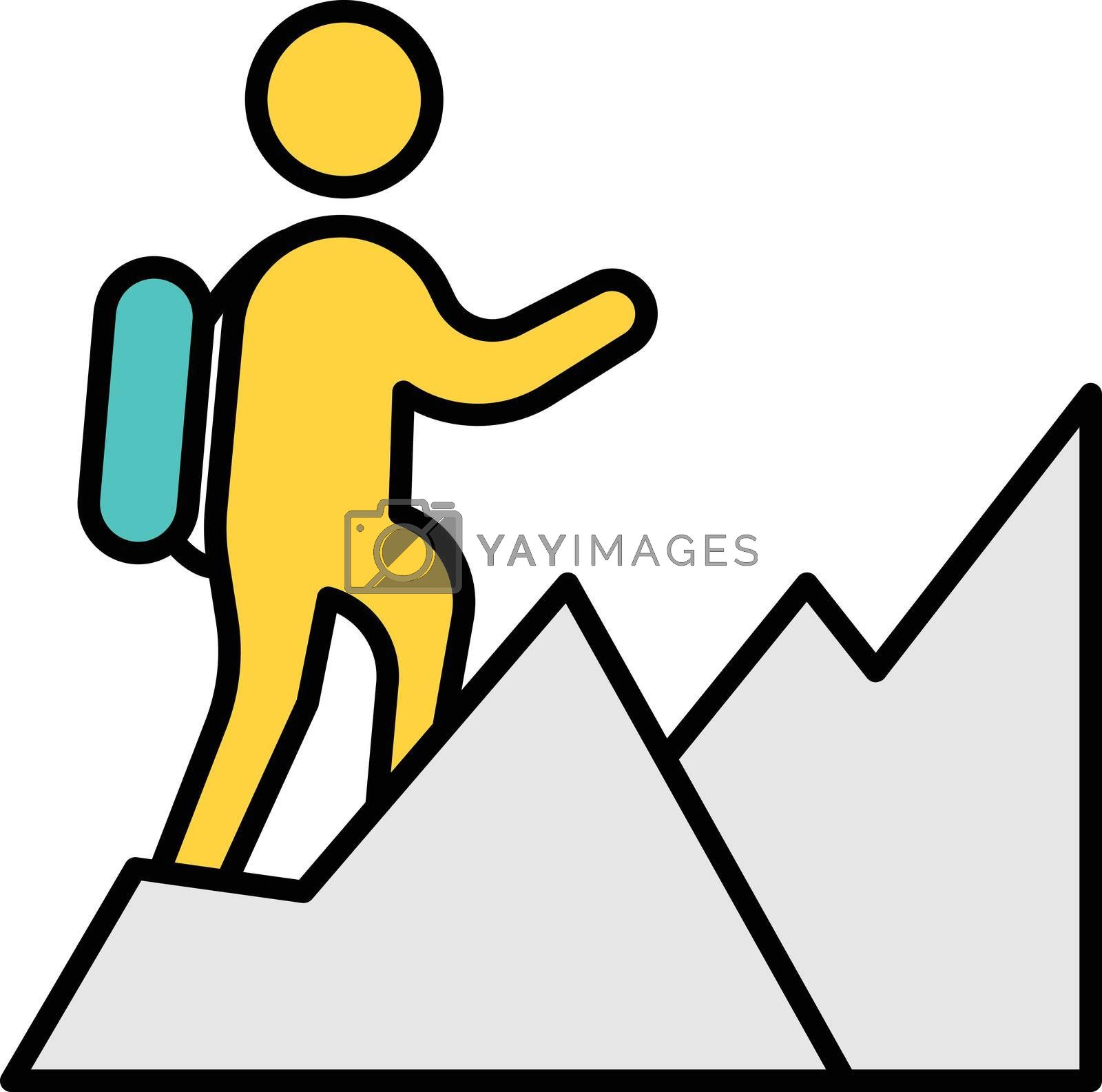 people hiking vector line colour icon