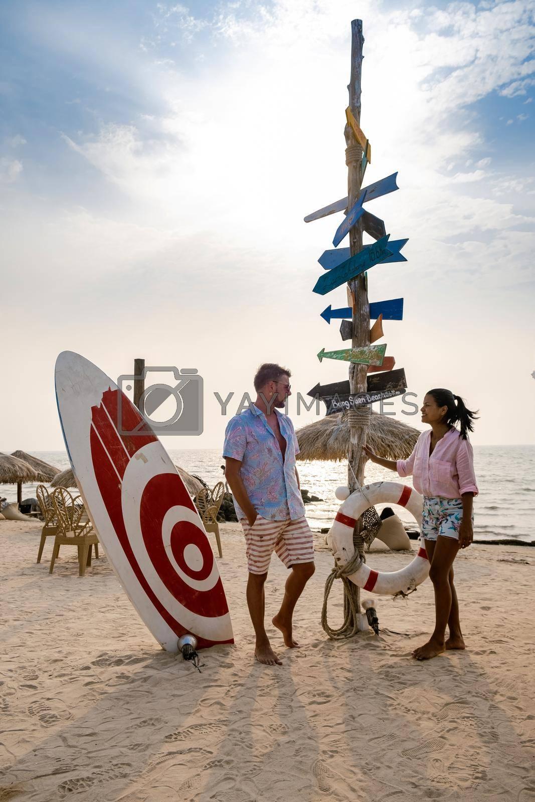 Bangsaen Chonburi Thailand beautiful beach club seafood beach club Bangsaen, people relax on the beach Chon Buri Thailand