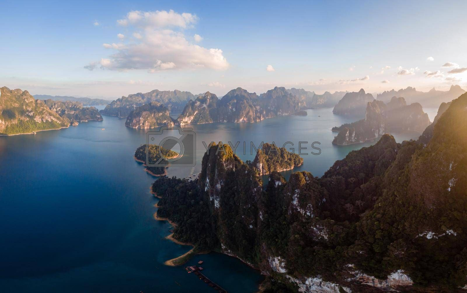 Khao Sok Thailand, Scenic mountains on the lake in Khao Sok National Park, Drone aerial shot, top view of Khao Sok National Park. South East Asia