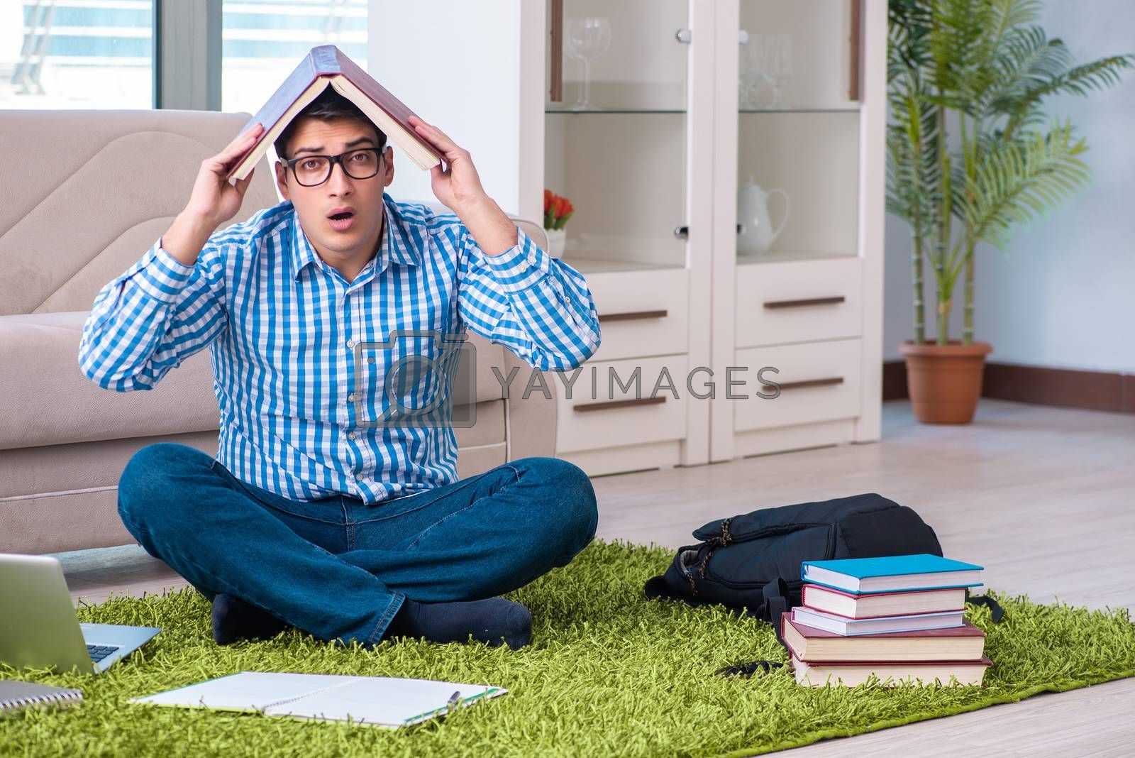 Student meditating and preparing for university exams