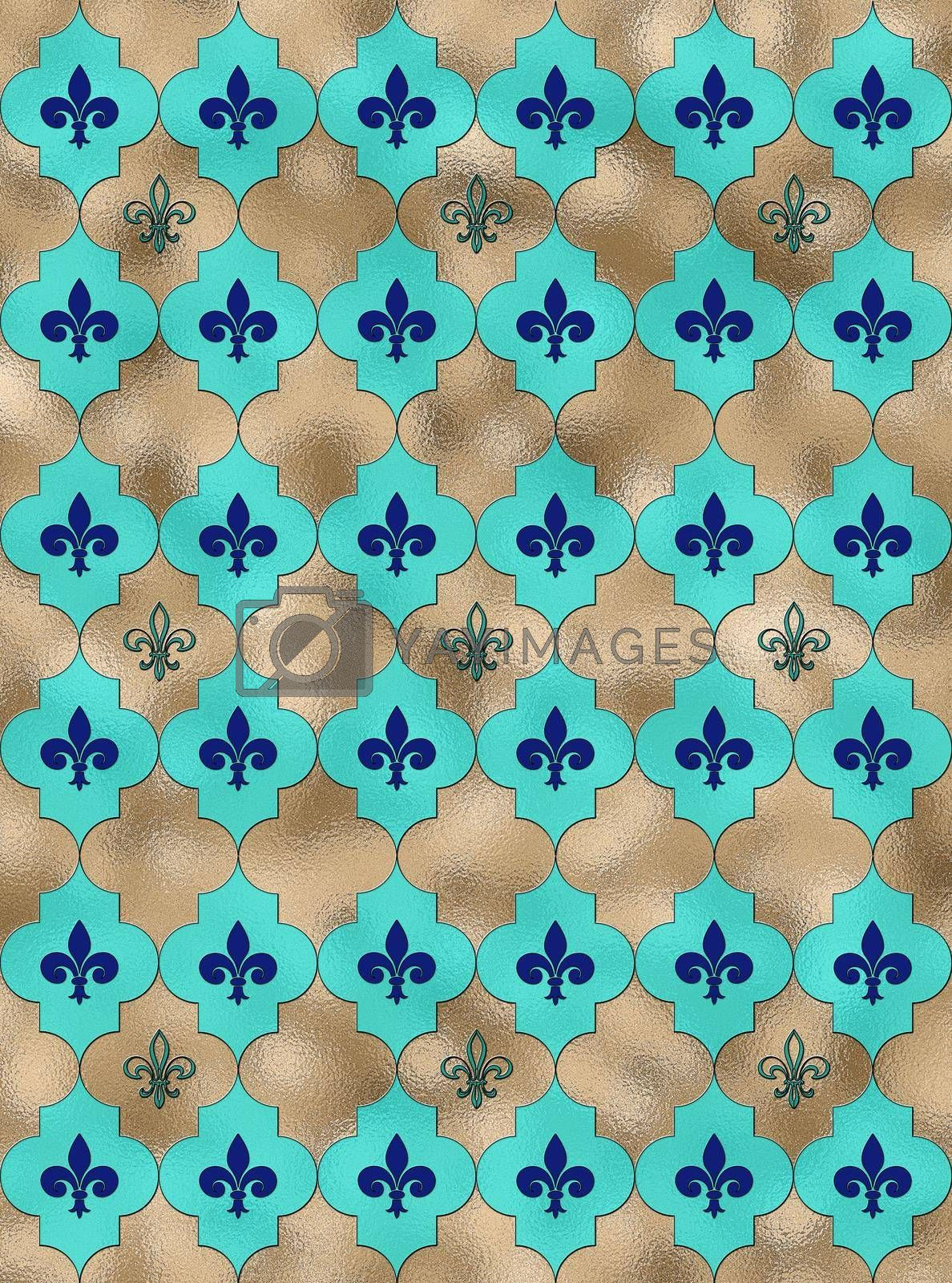 Lily fleur de Lis seamless pattern. Turquoise blue shiny gold pattern with heraldic symbol fleur-de-lis. Modern abstract pattern. 3D Illustration