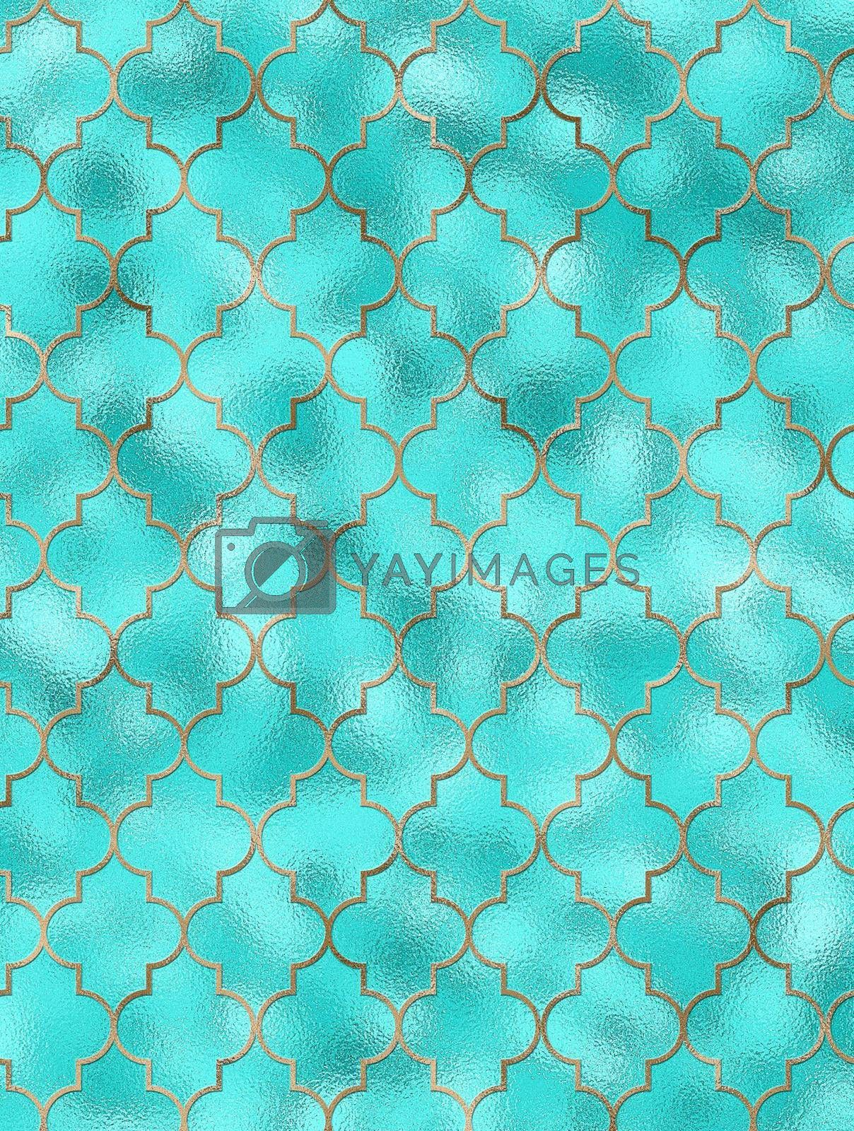 Moroccan seamless pattern with gold line over turquoise blues. Turkish Islam, Arabic, Indian, ottoman design, geometrical oriental texture. Print for textile, wallpaper, wrapping. 3D illustration