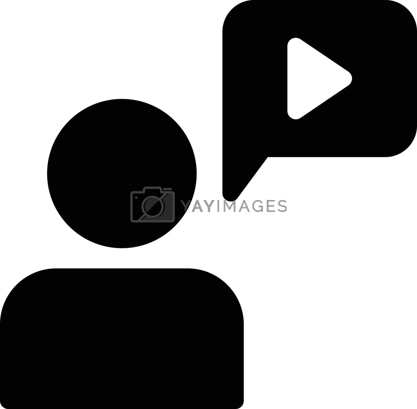 education video vector glyph flat icon