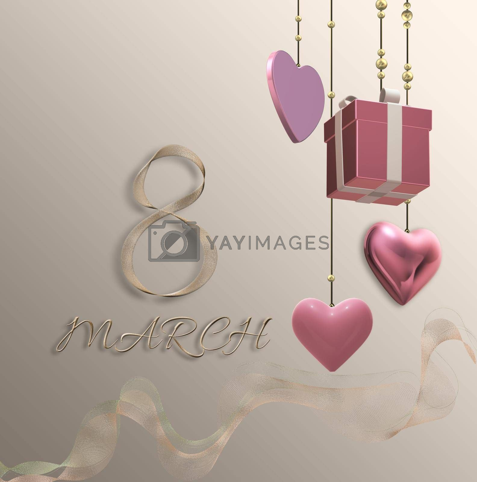 8th of March Women's Day elegant beautiful design template. Text 8 March made of golden shiny ribbon. Hanging gift box, 3D hearts on pastel gold background. 3D illustration