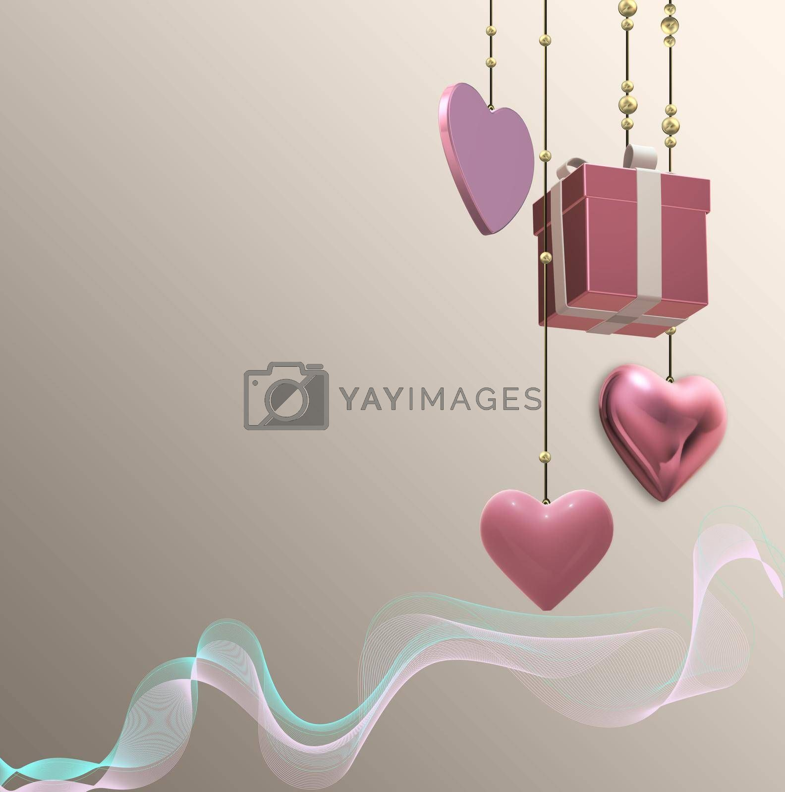 Gift box, pink hearts for romantic love celebration. Hanging 3D gift present box, pink hearts, wavy ribbon over pastel gold. Mothers day, 8th March, spring, Valentines, wedding, birthday. 3D rendering