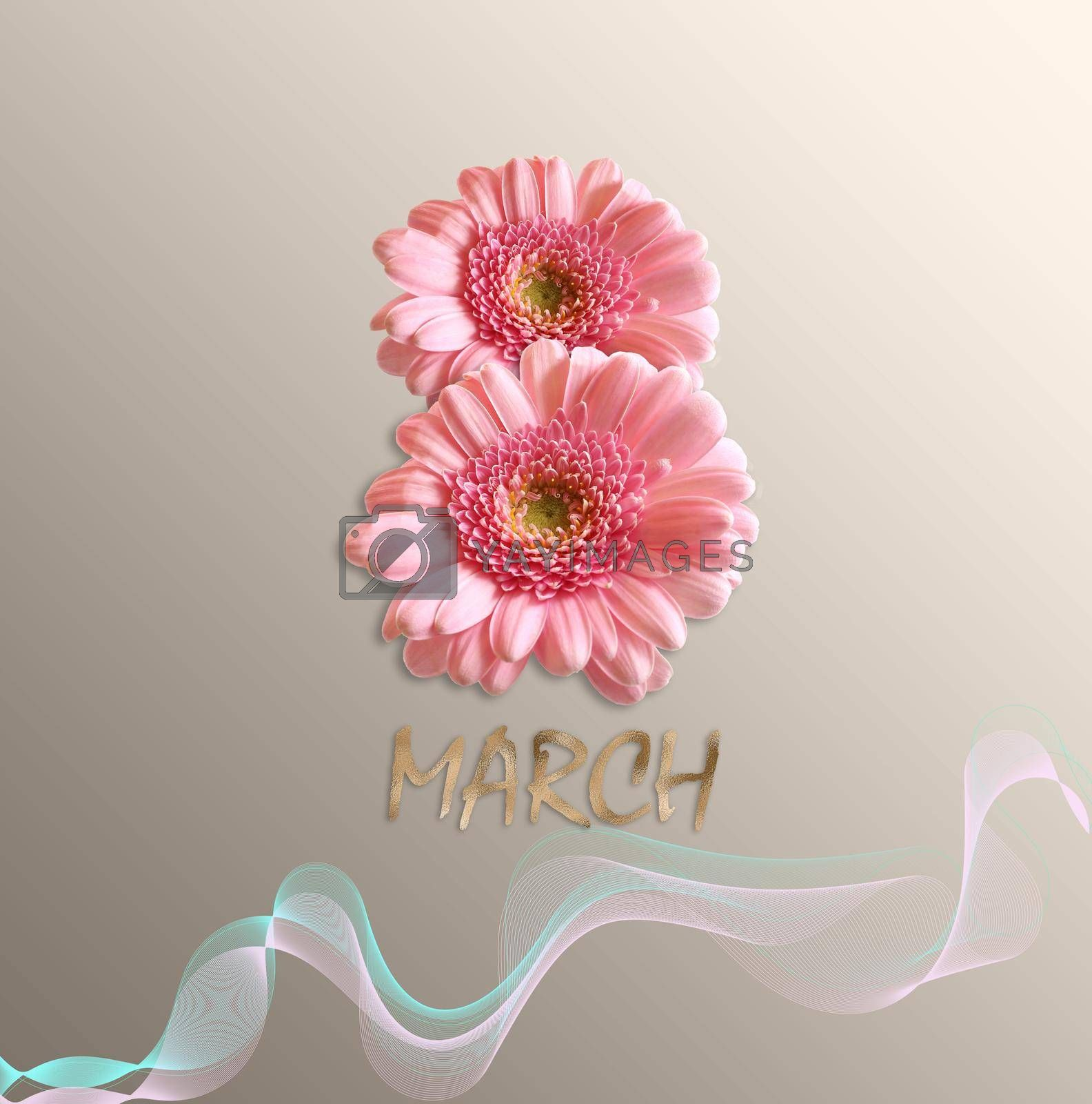 8th March, Women's day design of pink flowers gerbera. Gold text March on pastel gold background