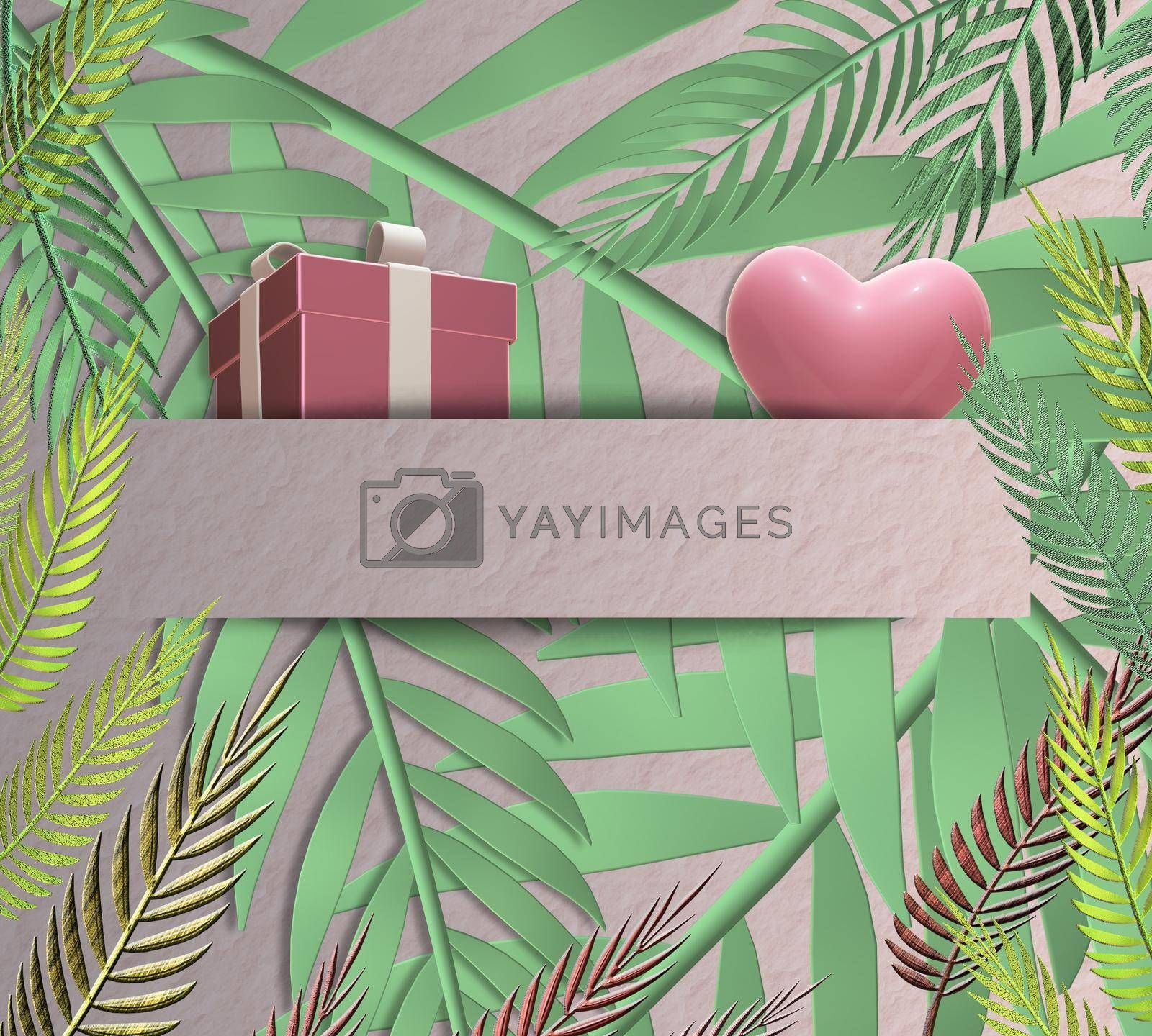 Gift box, pink heart on green tropical leaves background. Romantic love celebration. Hanging 3D gift present box, pink heart in paper strip. Mothers day, 8th March, Valentines, birthday, 3D render