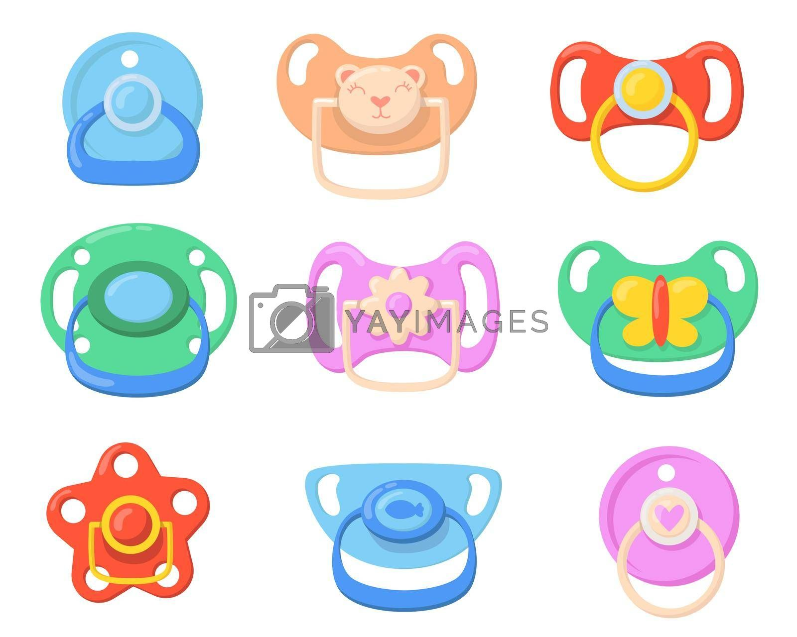 Royalty free image of Pacifiers for babies set by mstjahanara