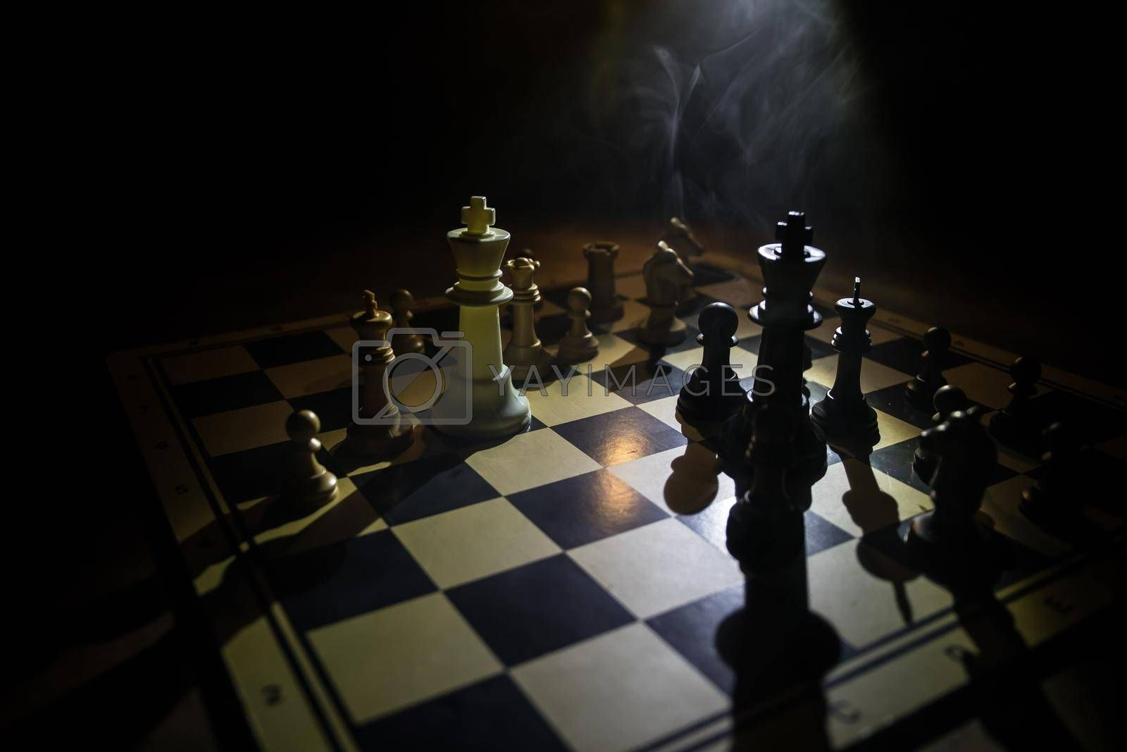 chess board game for ideas and competition and strategy, business success concept. Chess figures on dark. Selective focus