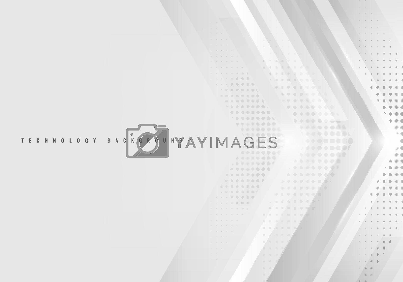 Abstract background white and gray arrow with halftone technology style. Vector illustration