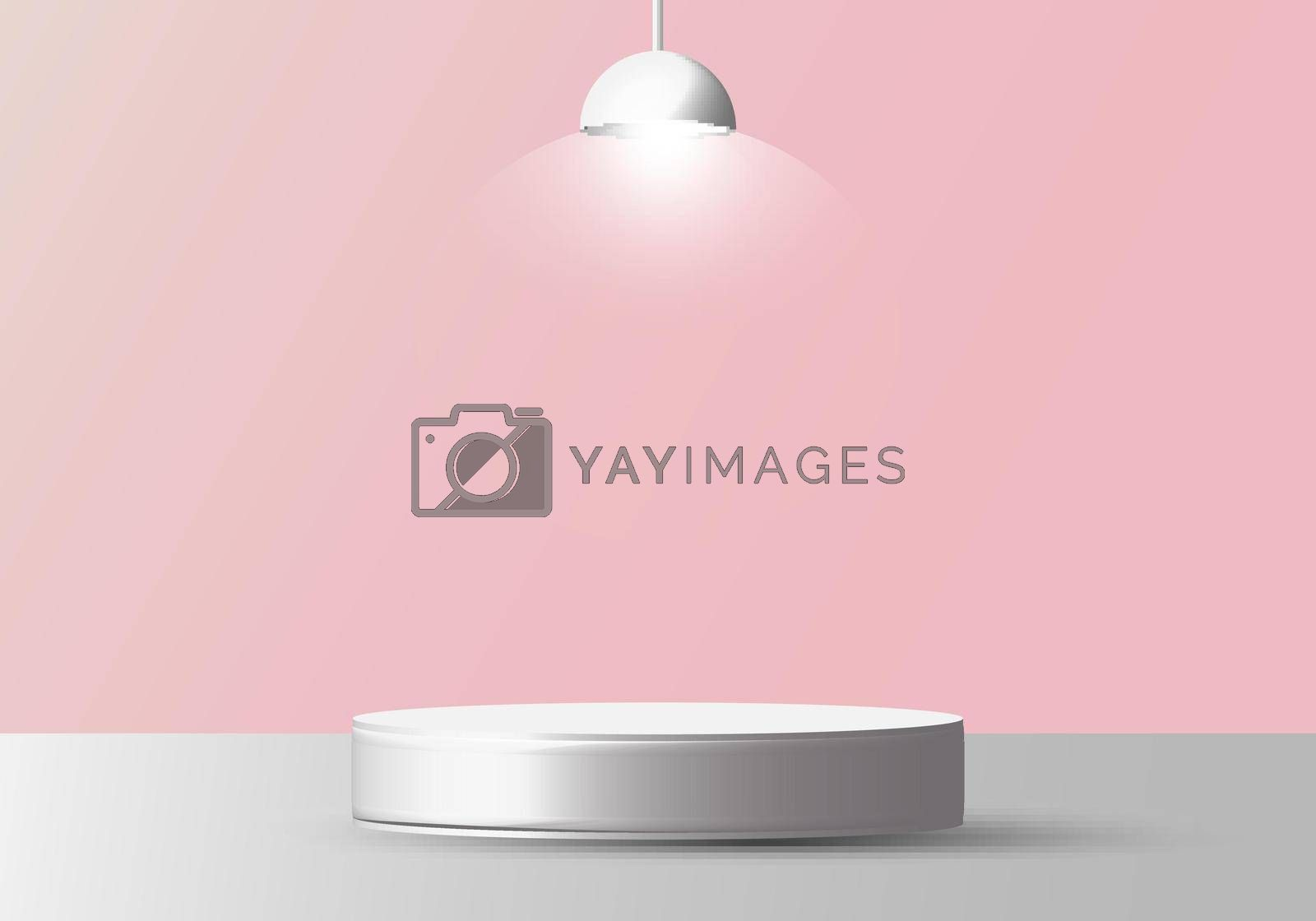 3D realistic empty white round pedestal mockup with lamp on soft pink background. Winner podium stage for award ceremony concept. Vector illustration