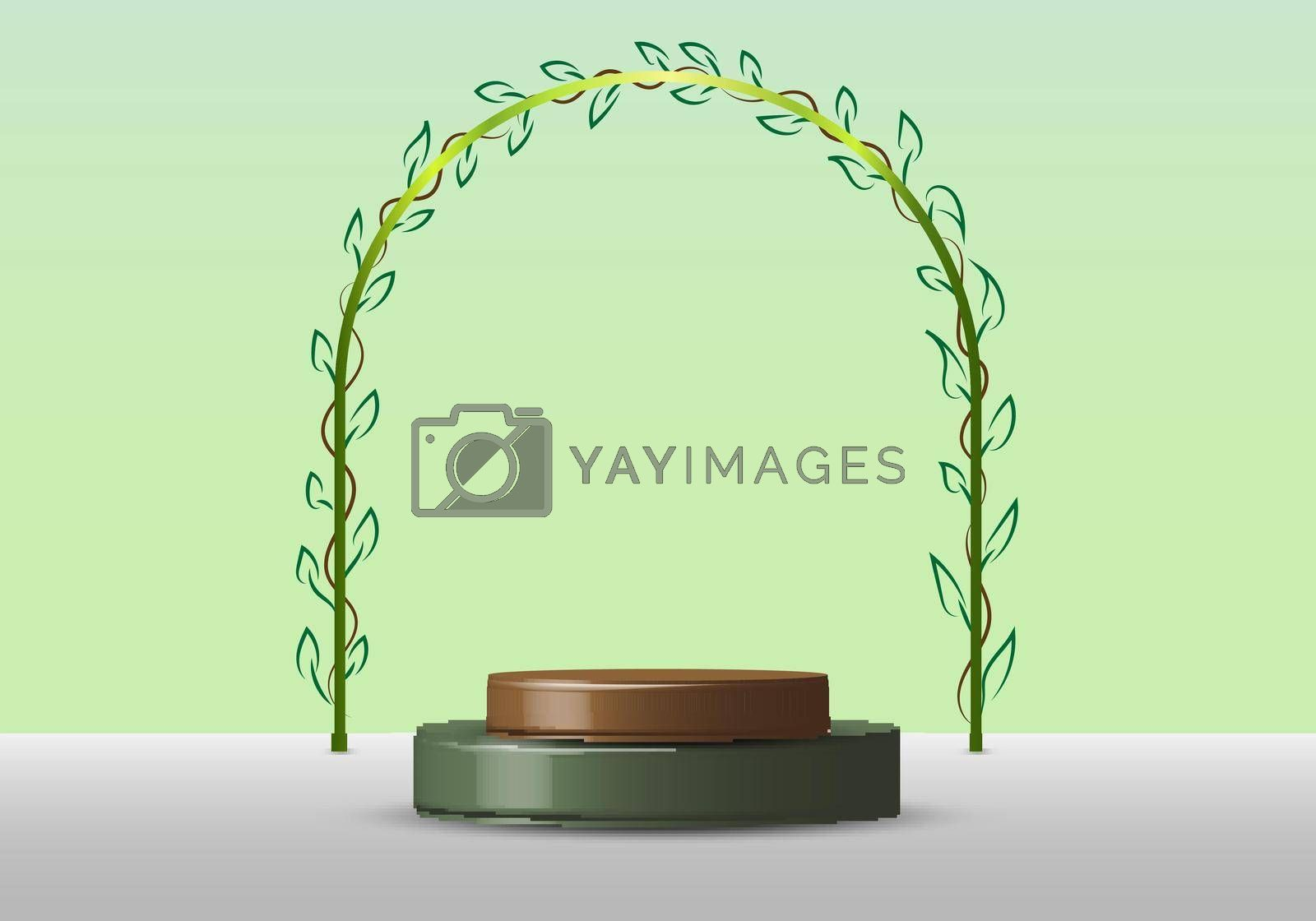 3D realistic empty green round pedestal mockup with rounded line border with leaves on soft green natural background nature concept. Winner podium stage for award ceremony concept. Vector illustration