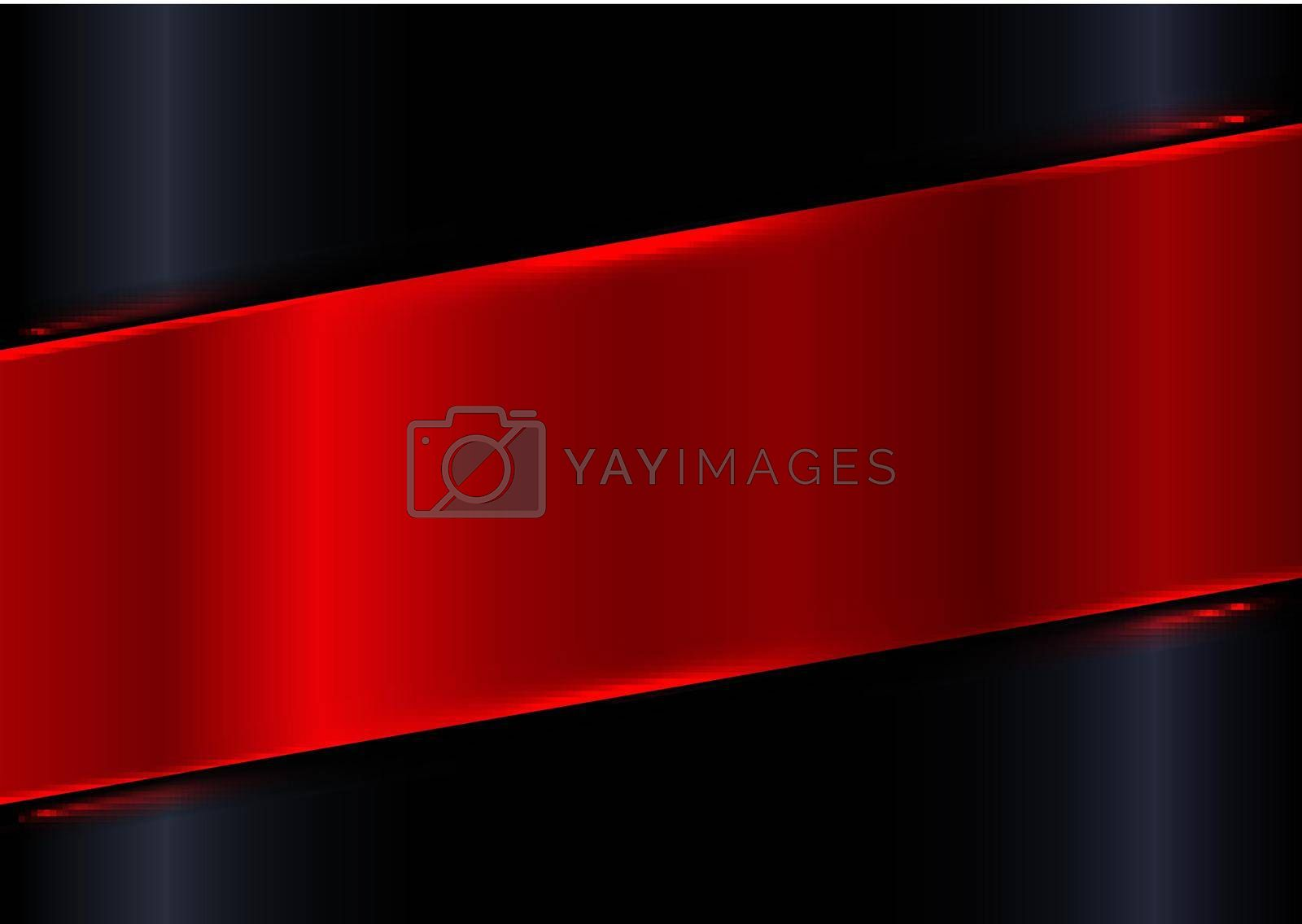 Abstract red shiny diagonal plate on black gradient glossy background with red laser lighting effect. Vector illustration