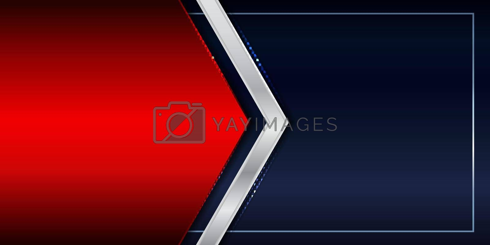 Banner template red shiny and silver metallic triangle header on blue background luxury style. Vector illustration