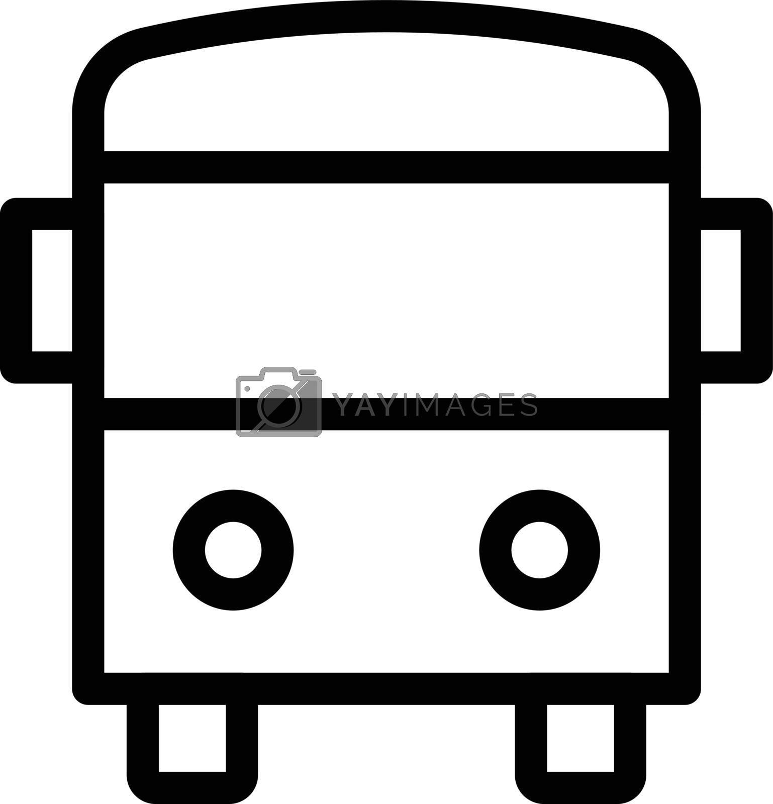 school bus vector thin line icon