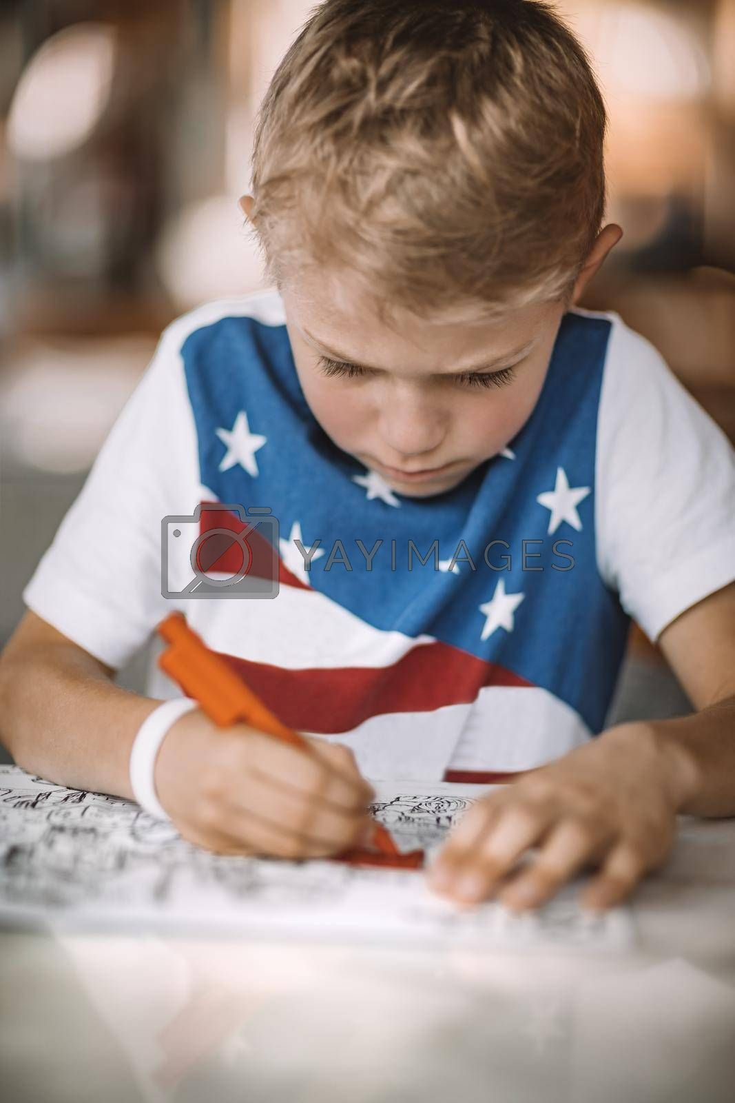 Portrait of a Serious Boy with Concentration Drawing and Coloring. Children on Distance Education. Homework or Leisure Time. Schooling at Home.