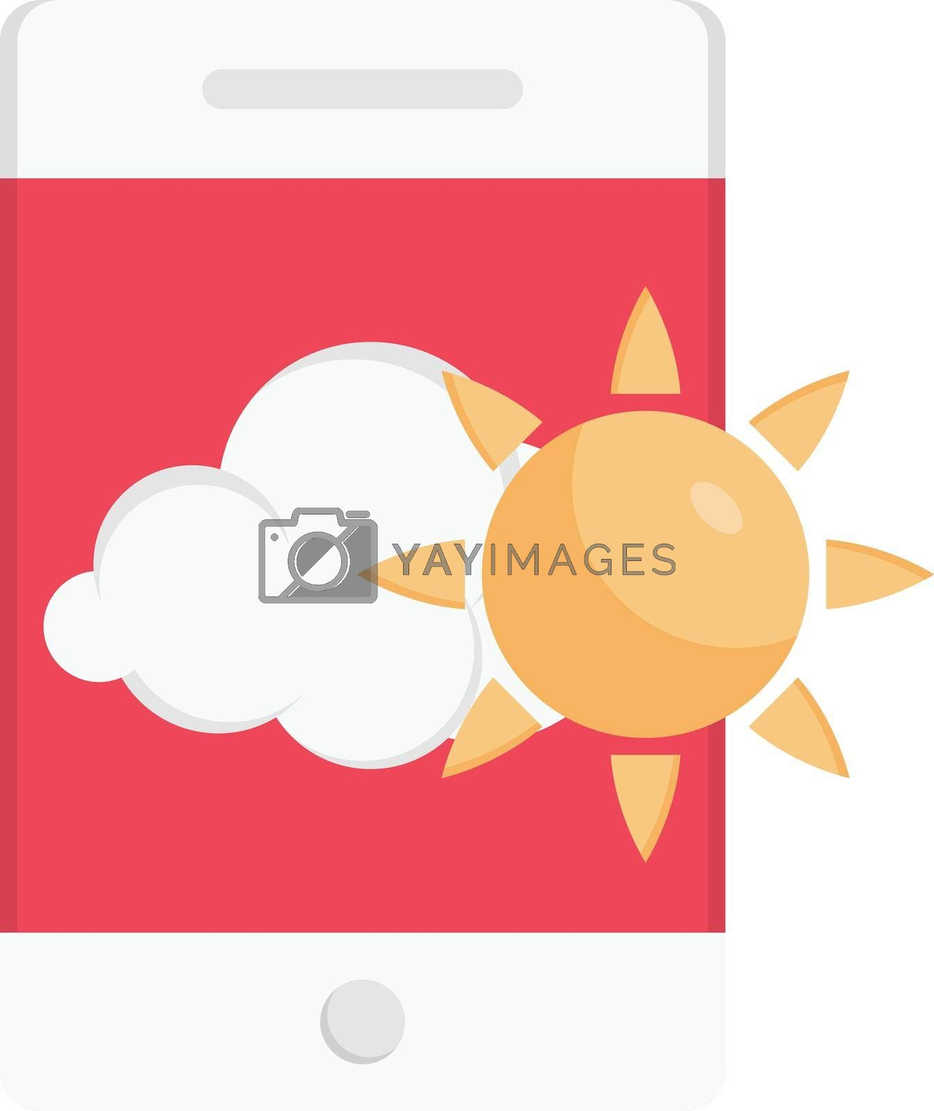 mobile weather vector flat colour icon