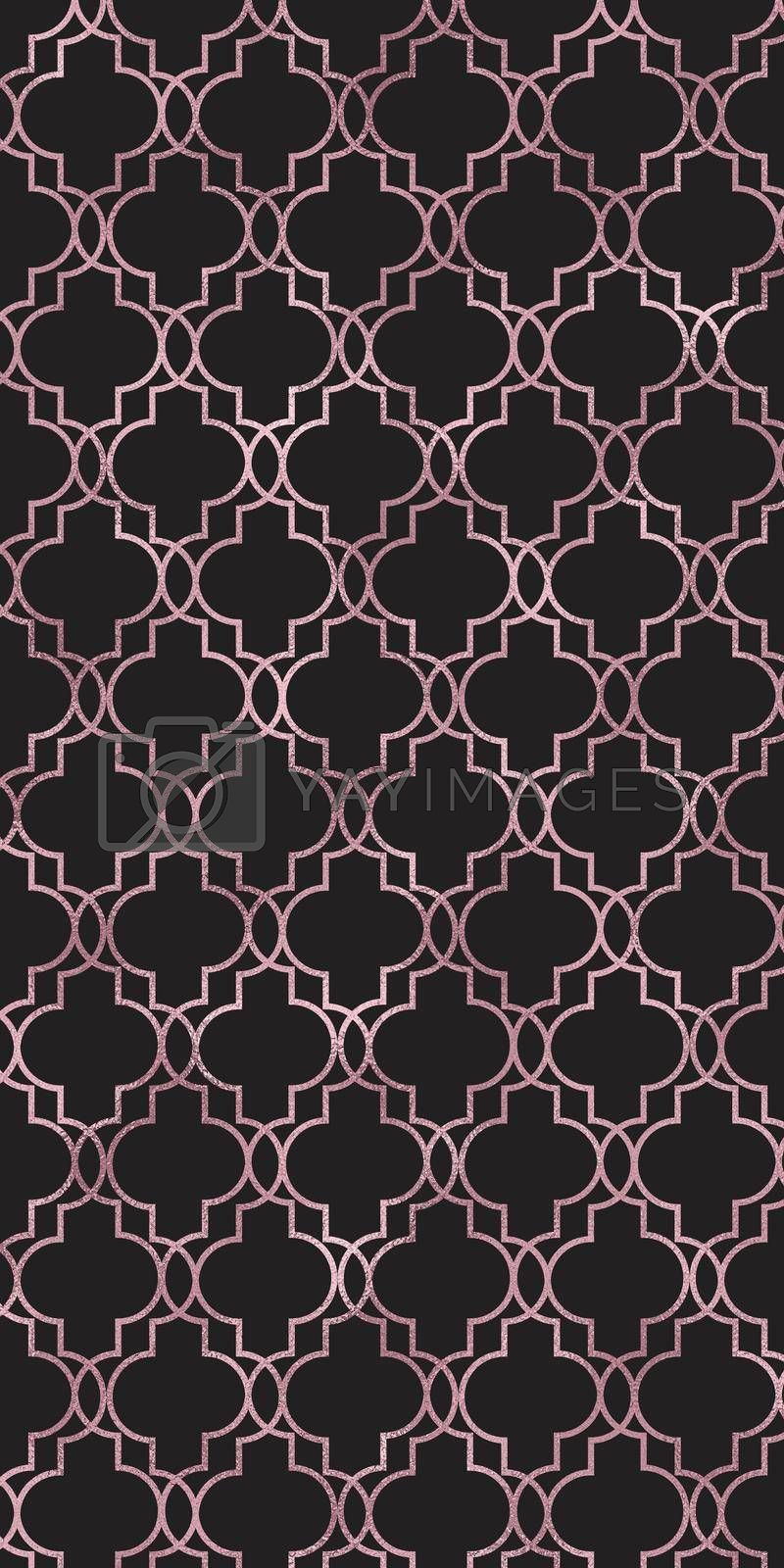 Moroccan seamless pattern with gold line over black. Turkish Islam, Arabic, Indian, ottoman design, geometrical oriental texture. Print for textile, wallpaper, wrapping. 3D illustration