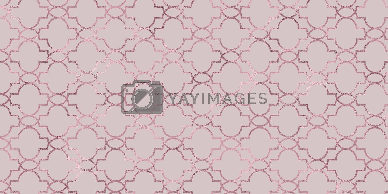 Golden oriental ornament on coral-pink background. Geometric ornament in the form of a lattice of gold with decor. Festive background, oriental ornament. Illustration