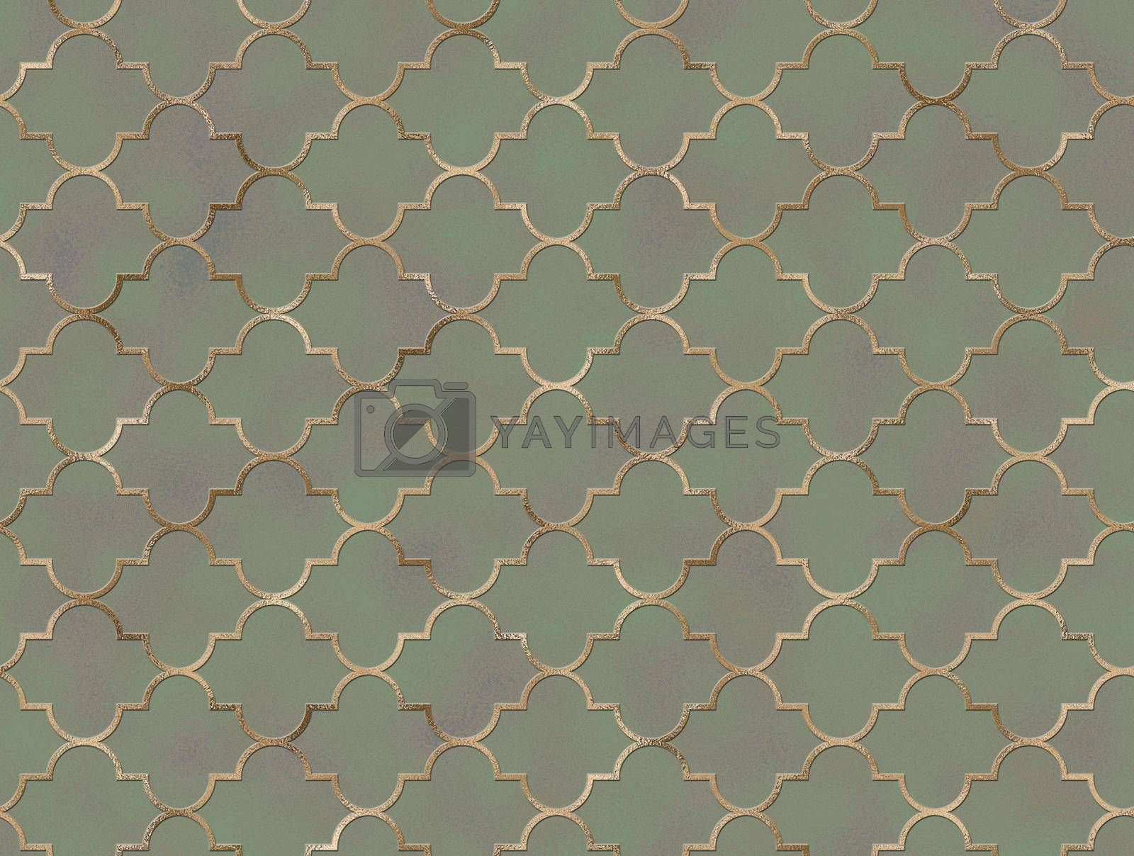 Islam, Arabic, Turkish, Indian, ottoman gold traditional design on turquoise blue pearl background. Oriental texture. Moroccan seamless pattern with golden line. Textile, paper, wrapping. illustration