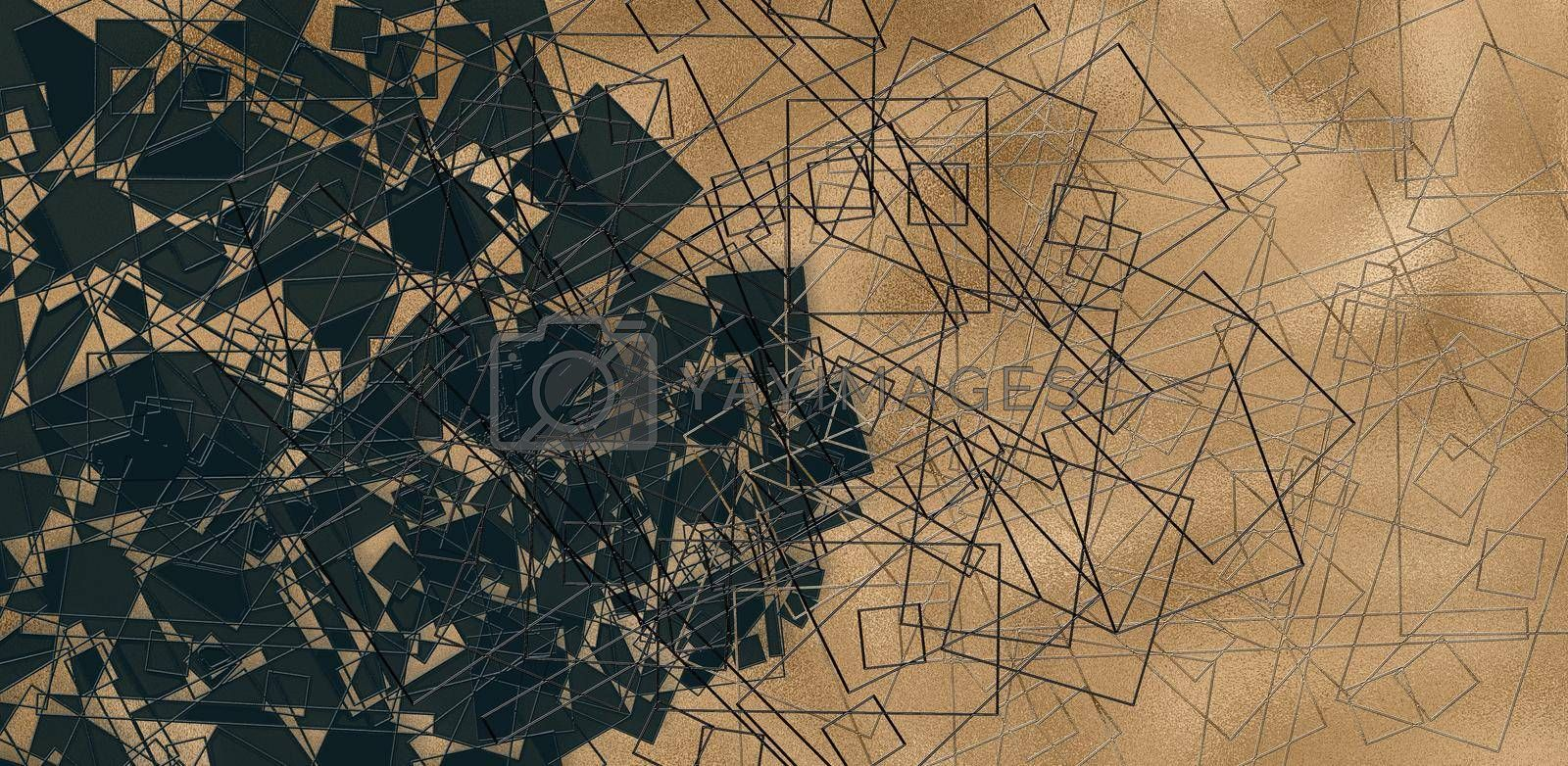 modern abstract triangular lines background in gold black colours. Beautiful trendy creative abstract design template. Illustration