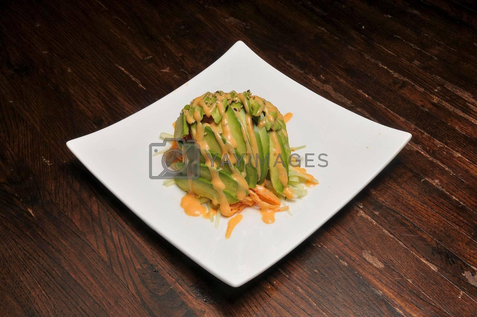 Delicious vegetarian dish known as avocado salad