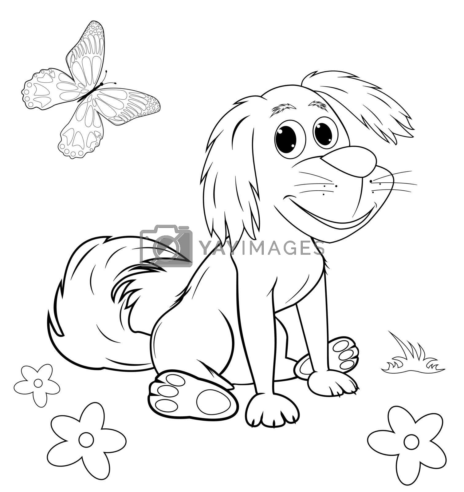 Royalty free image of Cute cartoon dog coloring page by liolle