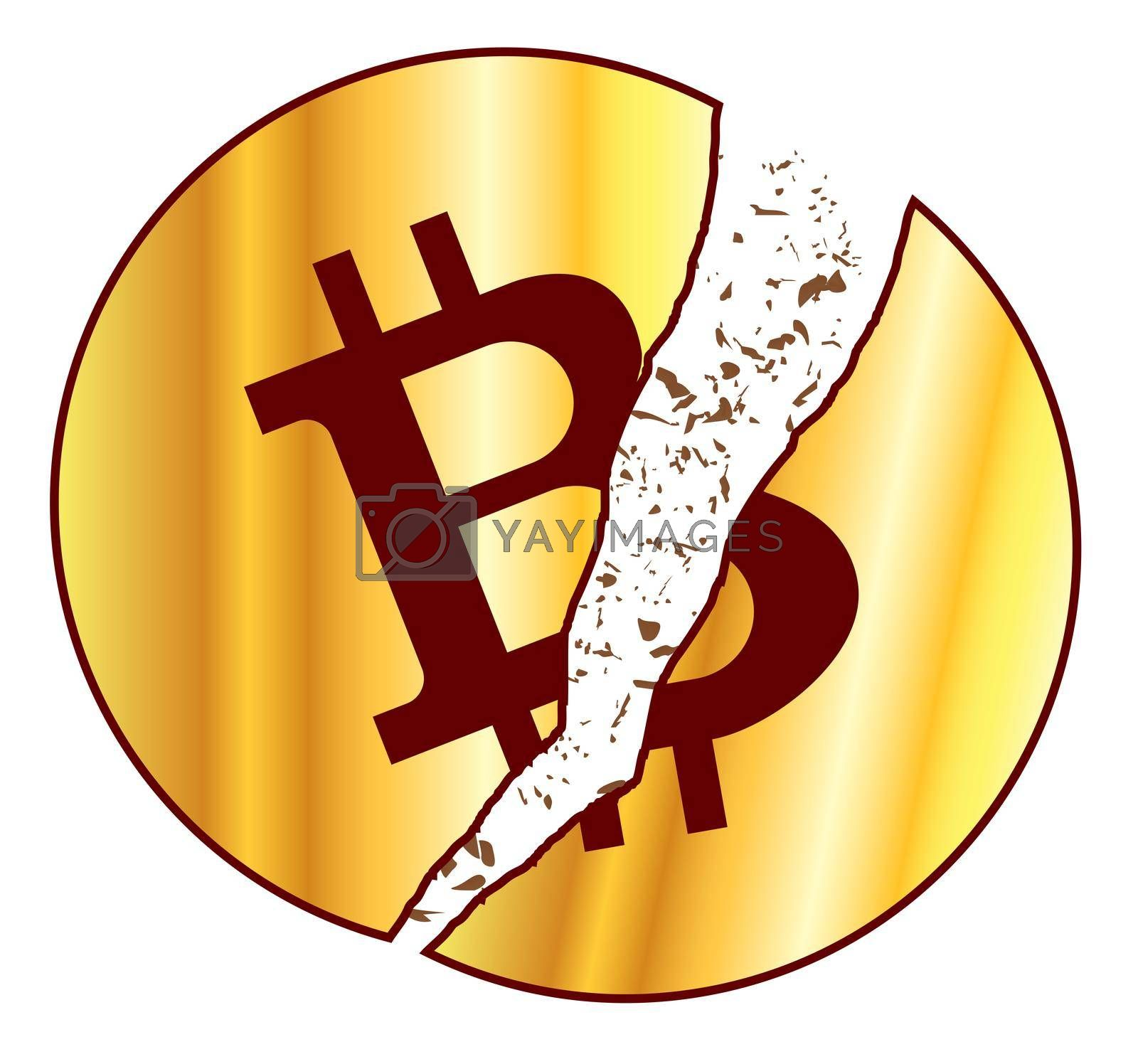 Golden bitcoin with symbol over a white background with broken pieces