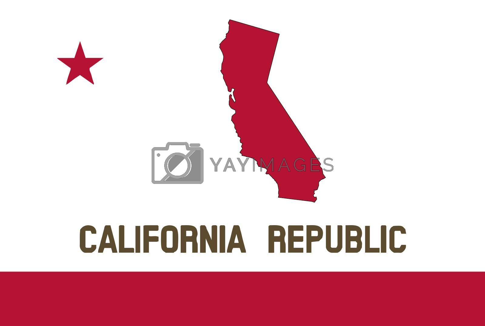 The flag of the USA state of California with map silhouette