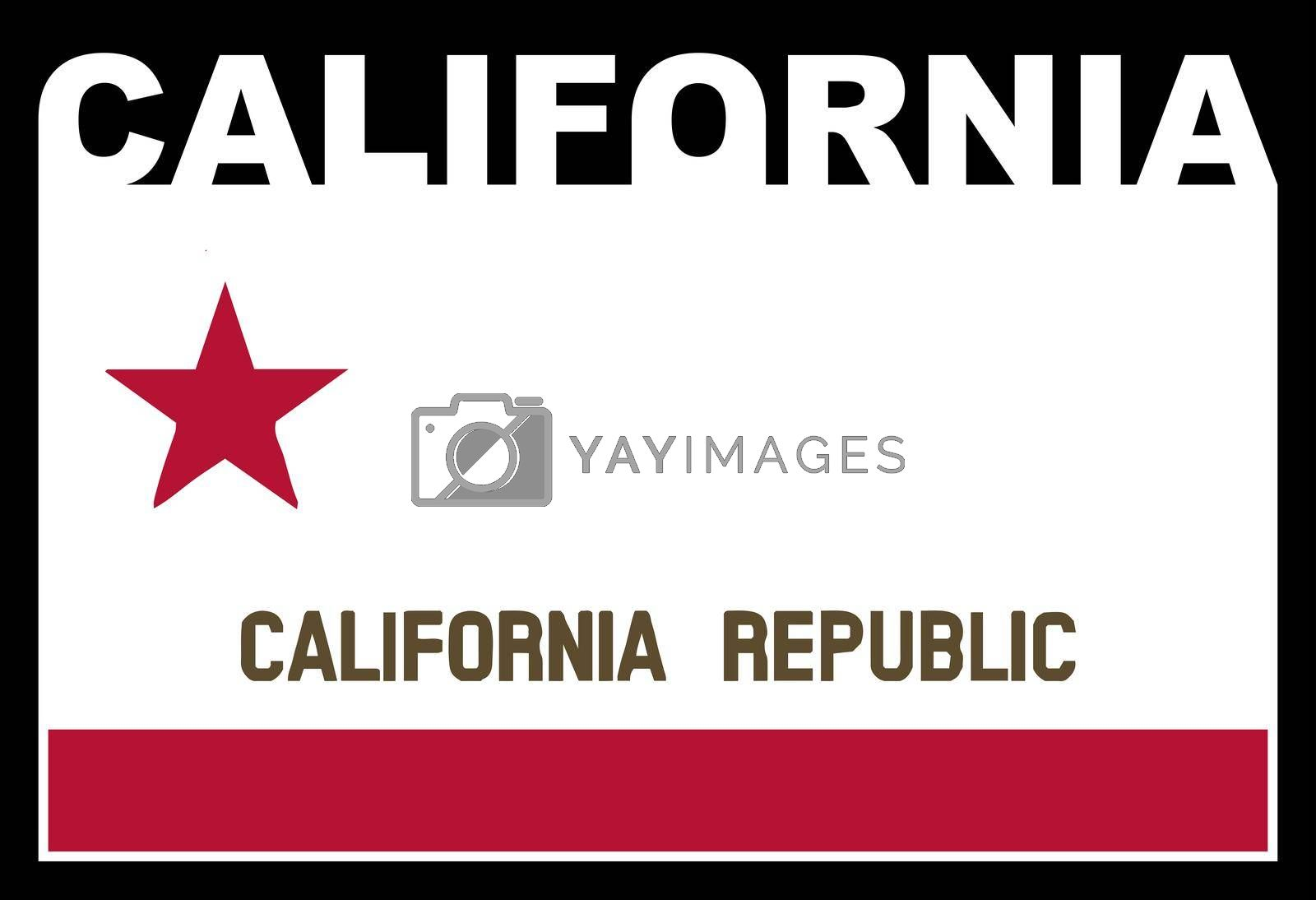 California state text in silhouette set over the state flag
