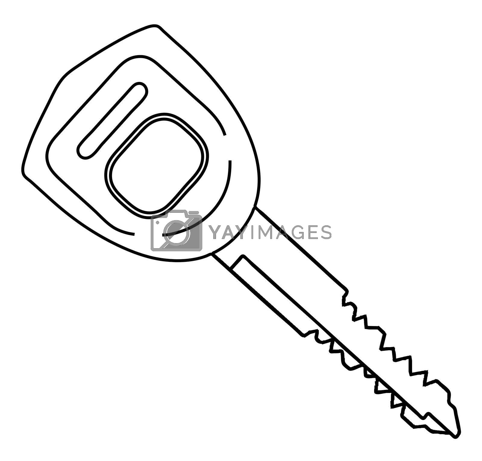 Royalty free image of Car Ignition Key Outline by Bigalbaloo