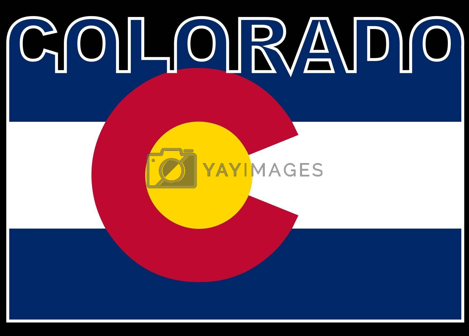 Colorado Text in silhouette set over the state flag