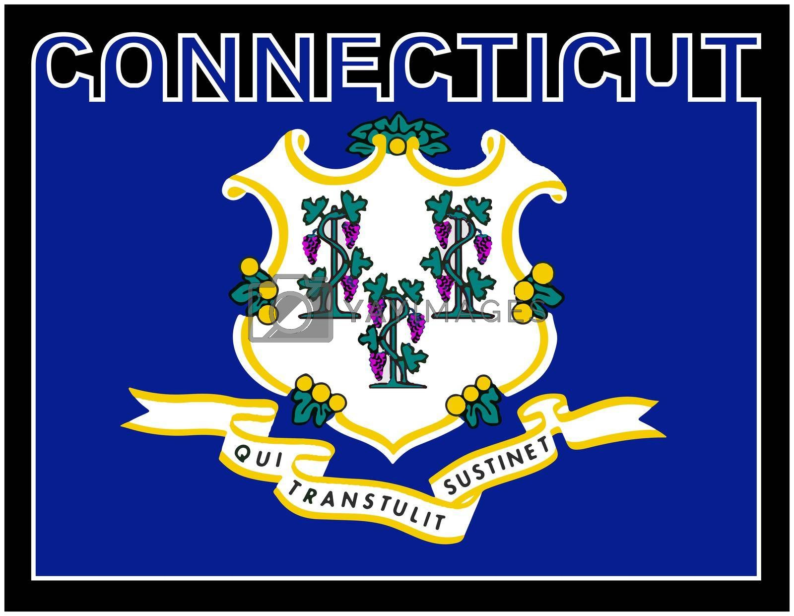 Connecticut state text in silhouette set over the state flag