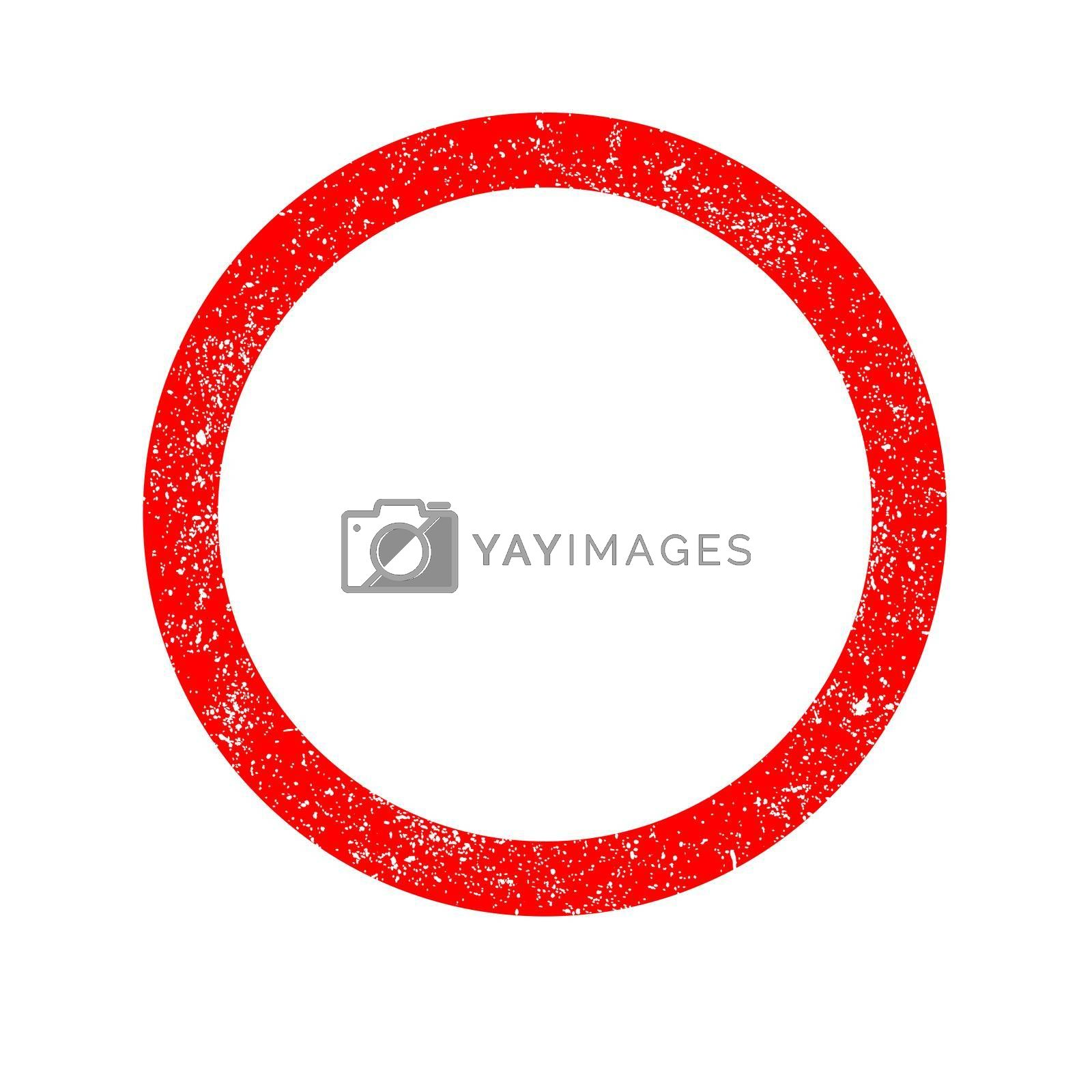 A rubber ink stamp circle in red with grunge effect over white