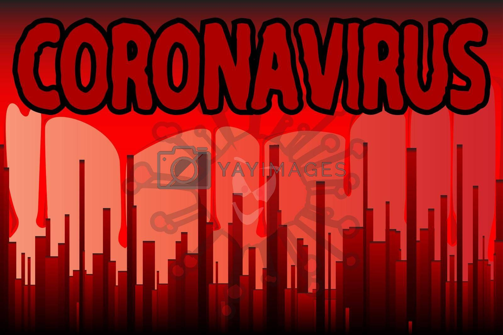 A grunge cityscape in blood red with a backdrop of running blood with the text Coronavirus