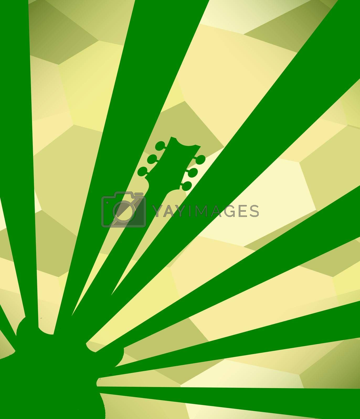 Green rock guitar poster background with heavy grunge