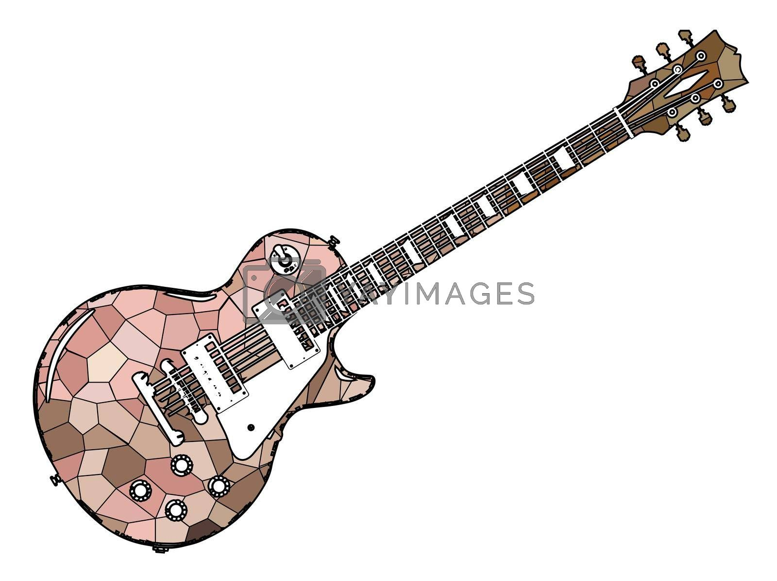 A classic red electric solid body guitar isolated on a white background