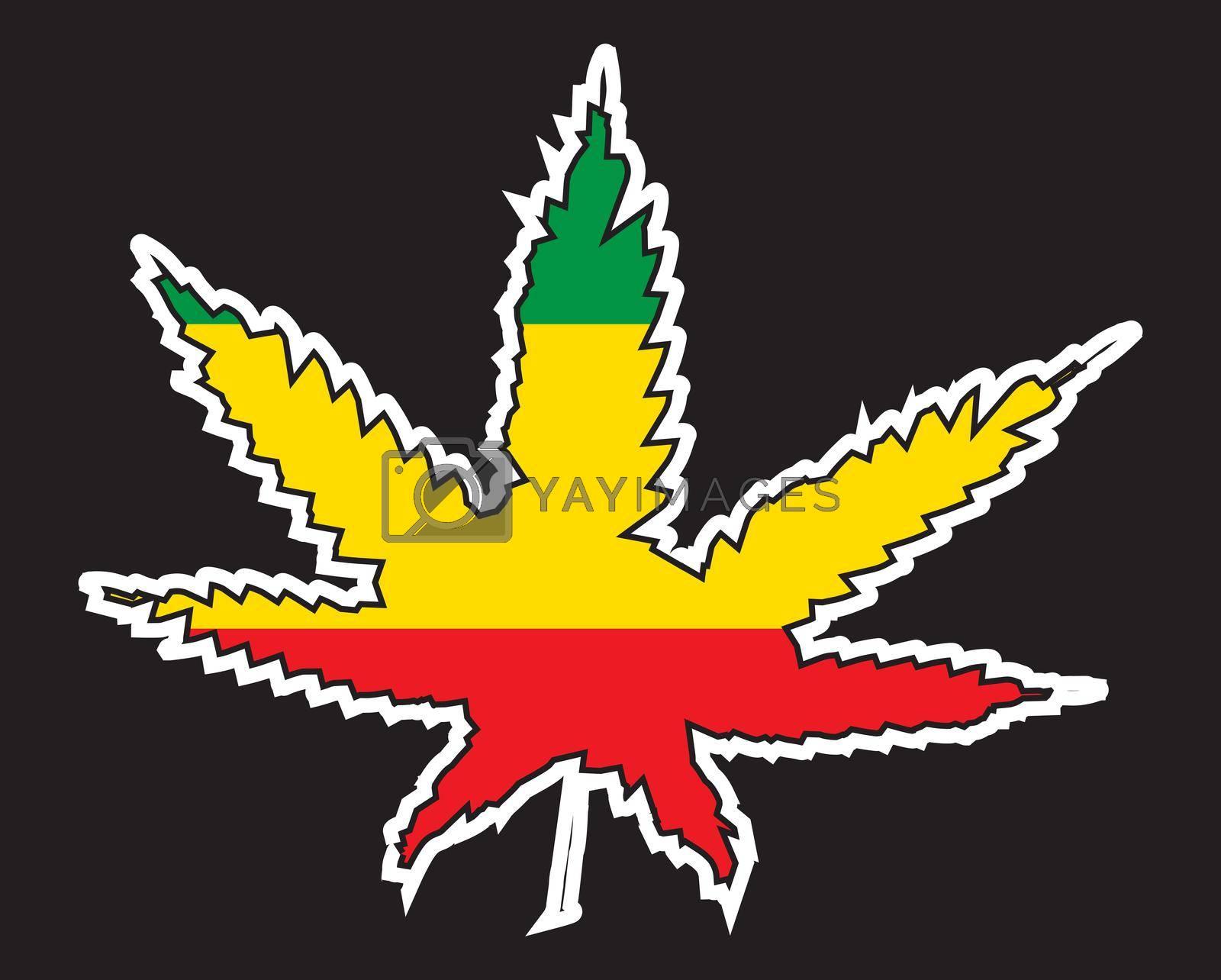 Royalty free image of Jamaice Rastafarian Leaf Flag by Bigalbaloo