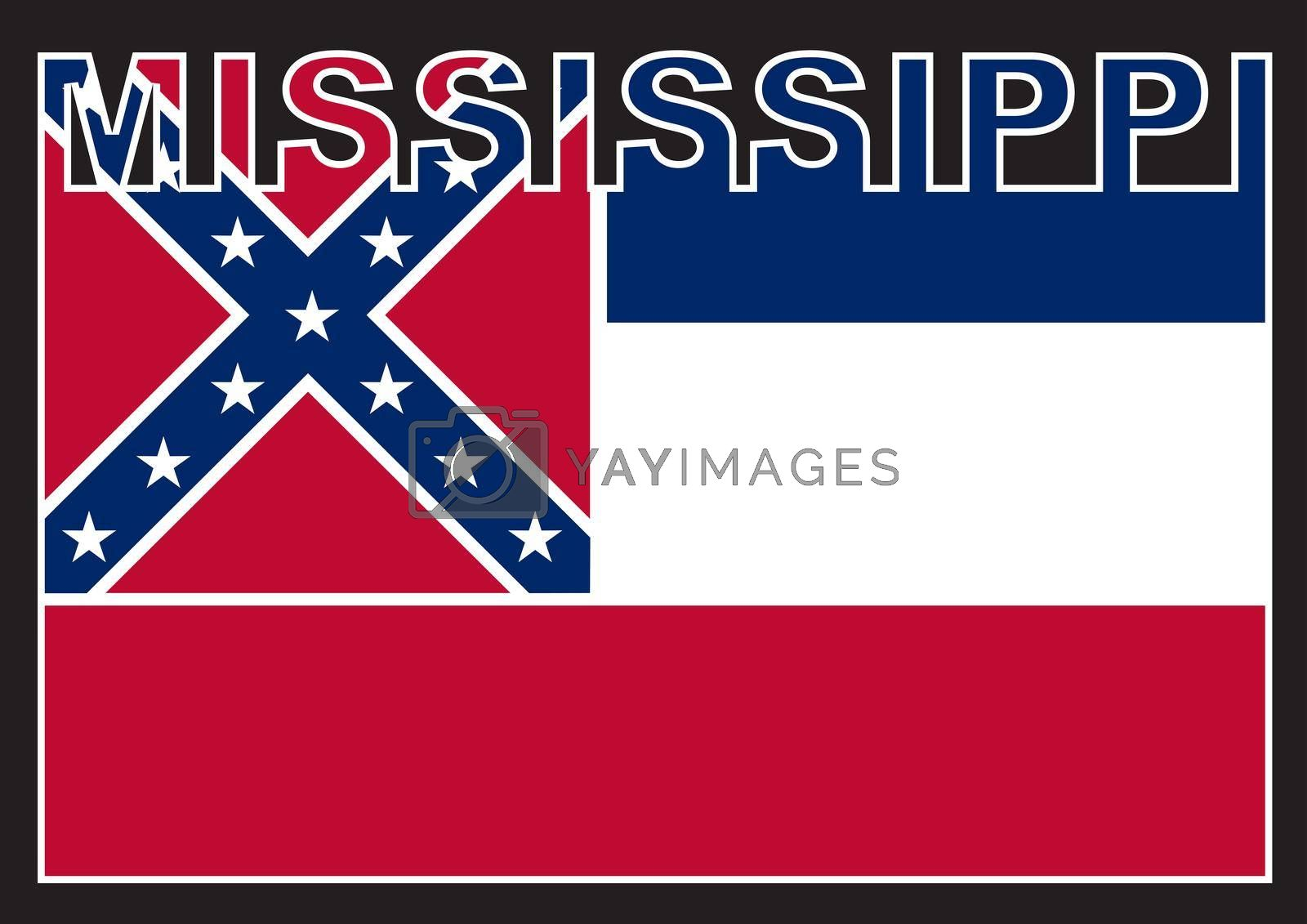 MississippiText in silhouette set over the state flag