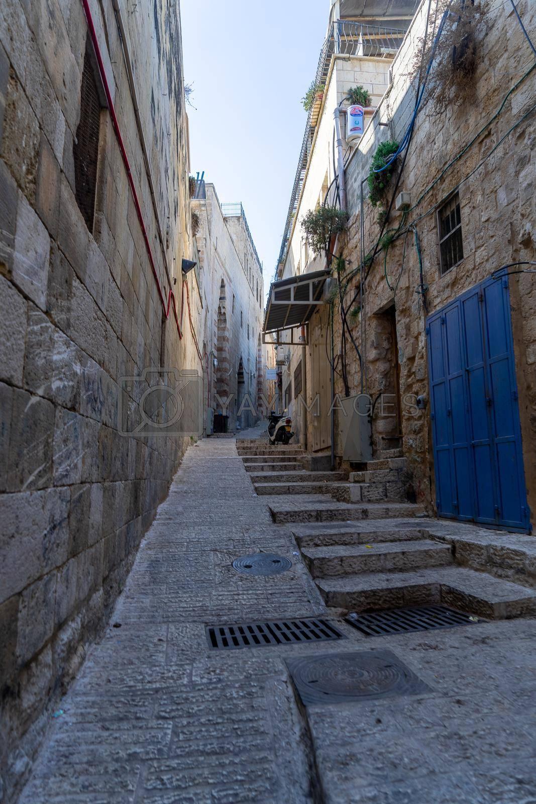 Empty streets of Jerusalem Old city during corona virus closure