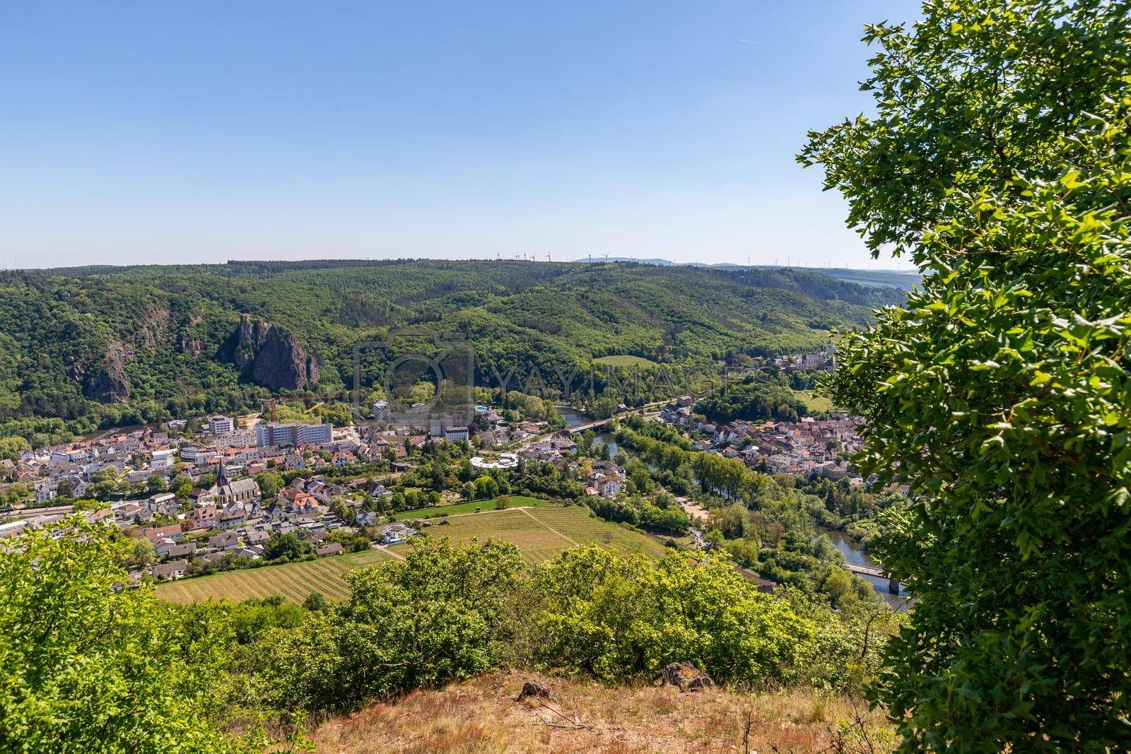 High angle view from the Rotenfels of Bad Muenster am Stein Ebernburg with the Nahe River, Germany