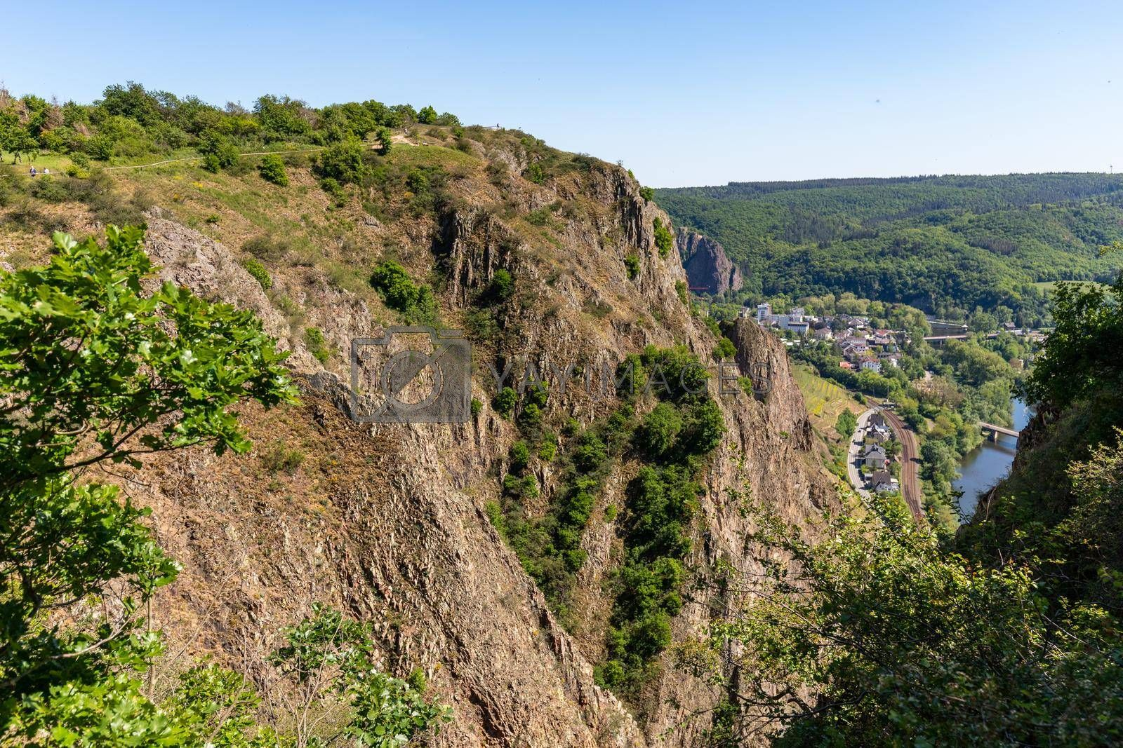 High angle view from the Rotenfels of Bad Muenster am Stein Ebernburg with rock massif in the foreground