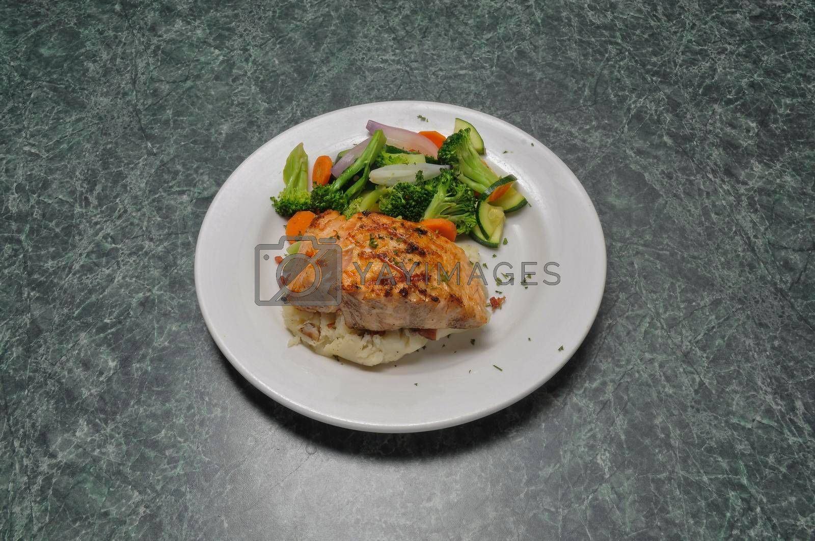 Delicious American cuisine known as fresh salmon