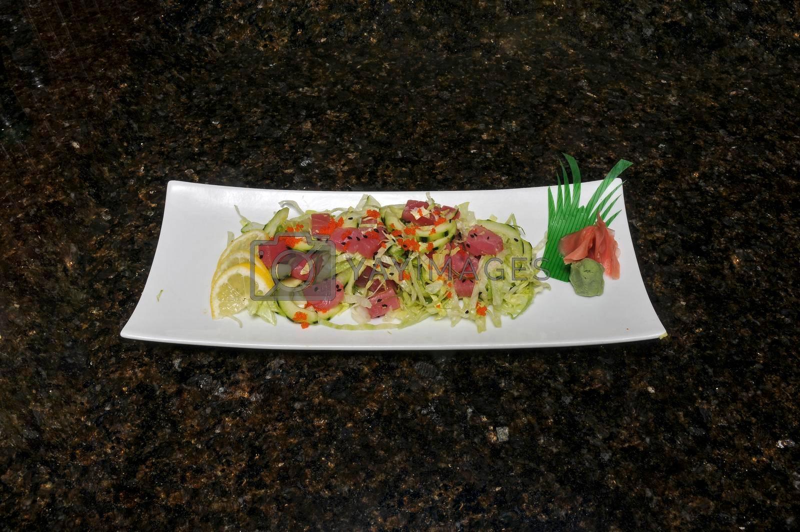 Delicious Asian cuisine known as ponzu salmon salad