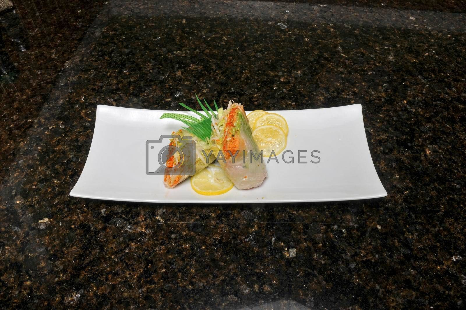 Delicious Japanese cuisine known as a fresh roll