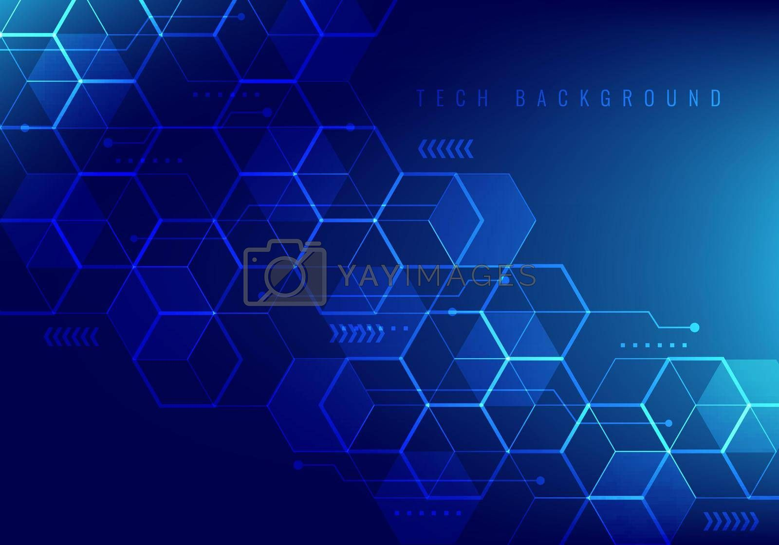 Abstract hi-tech digital technology geometric hexagon pattern shapes on blue background. You can use for medicine or science design. Vector illustration